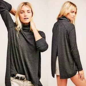 Free People Split Back Charcoal Turtleneck Small